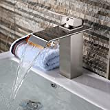 Yodel Bathroom Faucet Brushed Nickel Waterfall Wide Rectangular Spout Single Handle One Hole Deck Mount Mixer Tap