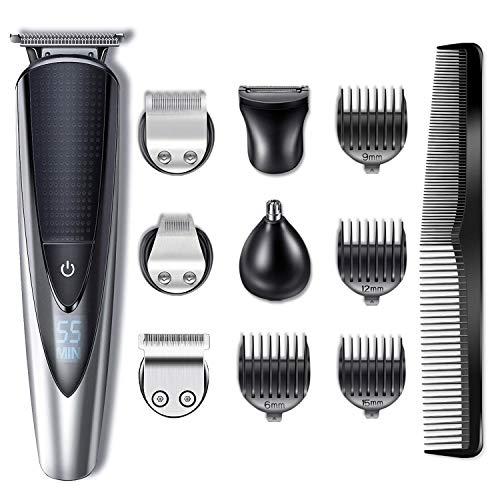 Hatteker Bartschneider Haarschneider Herren Haarschneidemaschine Haartrimmer Bartschneider Bart Trimmer Nasentrimmer Körper Goomer Wasserdichter 5 en 1