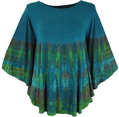 Guru-Shop Batik Poncho, Tunika, Boho Kaftan, Maxibluse, Damen, Petrol, Synthetisch, Size:One Size, Blusen & Tunikas Alternative Bekleidung