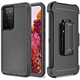 Szfirstey Case with Belt-Clip Holster for Galaxy S21 Ultra Drop Full Body Rugged Shock Dust Proof 3-Layer Military Protective Tough Phone Cover Heavy Duty for Galaxy S21 Ultra (Black)