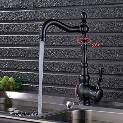 Saeuwtowy Grifo De Pintura Negra Retro Estilo Europeo Cocina Grifo 360°Giratorio Grifo para Fregadero Grifo de Cocina Monomando Grifería de Mezclador Agua de Fría y Caliente