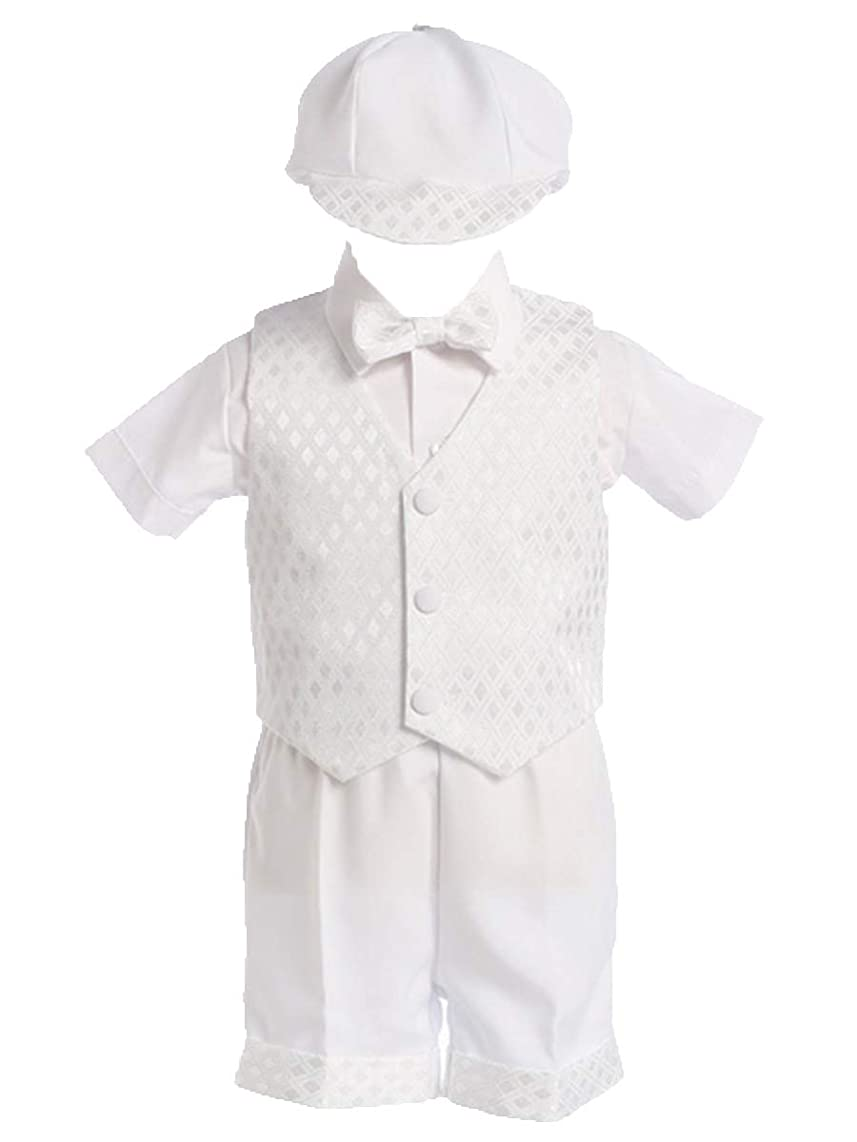 Lito Boy's Diamond Vest and Short Christening or Special Occasion Set with Cap
