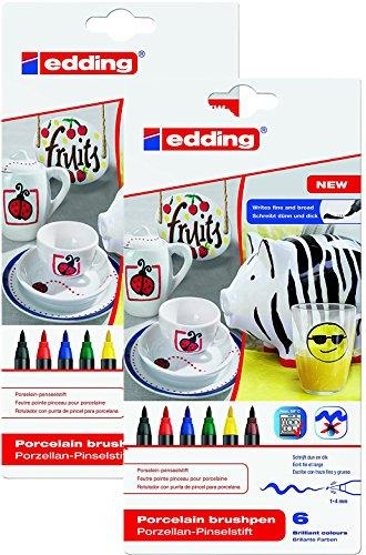 edding Doppelpack 4-4200-6 Porzellan-Pinselstift 4200, 1-4 mm, Sortiert