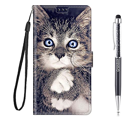 Grandoin für Huawei Honor Play 8A / Y6 2019 Hülle, Handyhülle im Brieftasche-Stil, Handytasche PU Leder Flip Cover Kreative Muster Hülle Magnet Hülle TPU Schutzhülle Lederhülle Hülle (Katze 1)