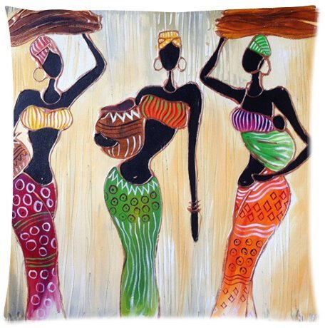 Funny African woman painting Pillowcase - Pillowcase with Zipper, Pillow Protector, Best Pillow Cover - Standard Size 18x18 inches, Twin-sides Print