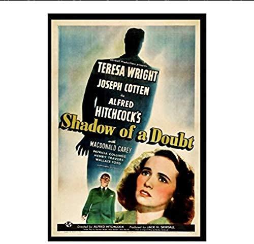 RZHSS Shadow of A Doubt (1943) Filmklassiker Alfred Hitchcock Film Retro Vintage Poster Home Decor Geschenkdruck Auf Leinwand -20X30 Zoll No Frame (50X75Cm