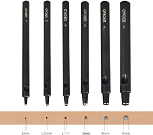 OWDEN Professional 6Pcs. Leather Hollow Punch Set. Size: 1.0-5.0mm for Leather Belt, Watch Band and Leather Strap Gasket. with a Free Mini Cutting mat.