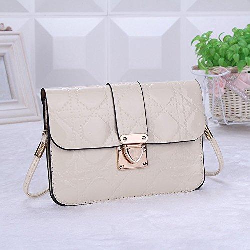Fashion Cool Gesteppte Lackleder Leather Mini Cross-body Messenger Bag Purse Shoulder Bag Mobile Phone Bag For iPhone 4 4s 5 5c 5s 6 (White)