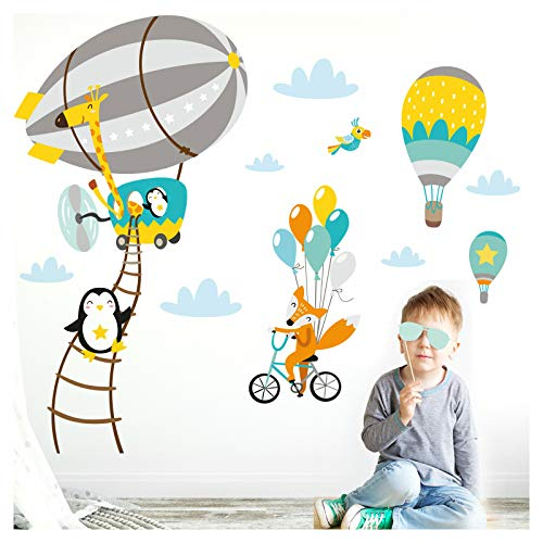 Little Deco Wandtattoo Babyzimmer Tiere im Zeppelin Fuchs auf Fahrrad I 124 x 84 cm (BxH) I Grau Gelb Grün Kinderbilder Mädchen Aufkleber Wandsticker Tiere DL208-7+8