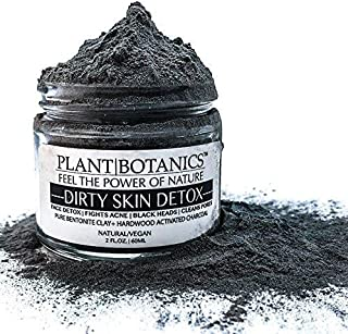 Plant Botanics Vegan Face Mask with Bentonite Clay and Activated Charcoal, Ultra-Strong Facial Detox Clay, Helps Remove Black-Heads, Oily Skin, Fights Acne, Cleans Pores, Detox Your Skin Naturally