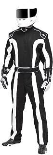 K1 Race Gear Triumph 2, Single Layer SFI-1 Proban Cotton Fire Suit (Black/White, XXX-Large)