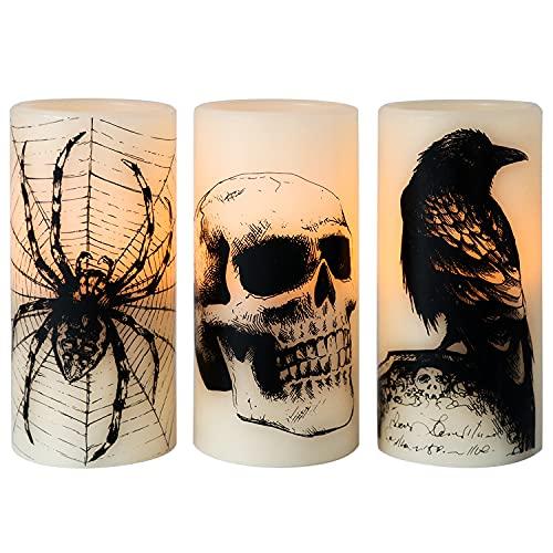 Eldnacele Halloween Flickering Candles with Skull, Spider Web, Crow Raven Decals Set of 3, Battery...