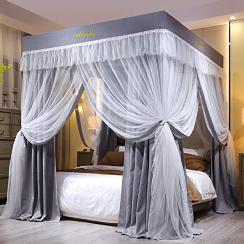 Obokidly Solid Color Princess 4 Four Corner Post Bed Curtain Canopy with Mosquito Net Canopies for Girls Boys Kids Teens Girl Adult Home Bedroom Decoration (Grey, King)