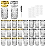 Mason Jars, 8 OZ Mason Jars Canning Jars Jelly Jars With Regular Lids and Bands, Ideal for Jam,...