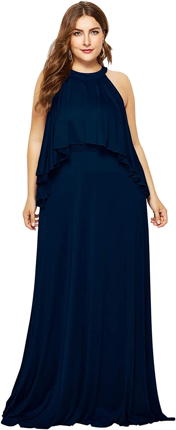 GMHO Women's Plus Size Collar Sleeveless High Low Hollow Out Maxi Dresses