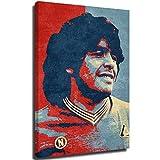 Xlcsomf Lienzo decorativo para pared, diseño de jugador de fútbol, Diego Armando Maradona, para sala de estar, oficina, decoración de pared, estirado y enmarcado, listo para colgar, 61 x 91 cm