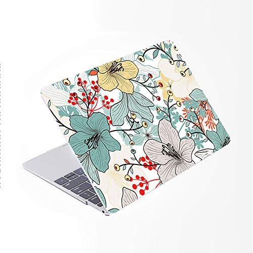 SDH Only Compatible Older MacBook Pro 13 Inch Case Model A1278 CD-ROM Early 2012-2008 Release, Plastic Pattern Hard Shell & Laptop Sleeve Bag & Gradient Keyboard Cover, Plant Leaves 4