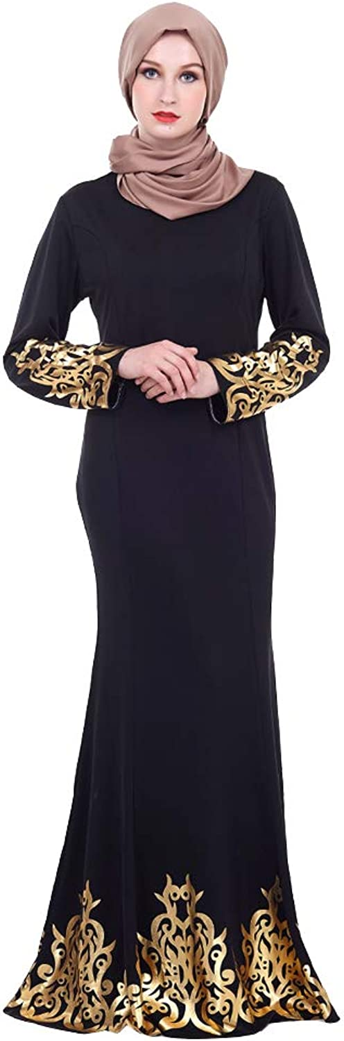 BaronHong Muslim Islamic Arab Palace Maxi Dress Lady Thobe Abaya Bronzing