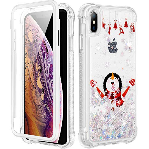 Caka Christmas Case for iPhone Xs Max, iPhone Xs Max Christmas Case for Girls Glitter Full Body Case with Screen Protector Bling Sparkle Protective Holiday Case for iPhone Xs Max-White Snowman