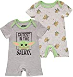 Disney Boys' Star Wars Baby Yoda Creeper Romper Bodysuit, White/Grey/Green, 3-6 Months