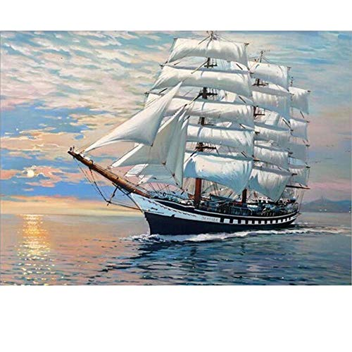 SUBERY Paintworks DIY Oil Painting Paint by Number Kits for Adults Kids Beginner - The Ship is Sailing Smoothly 16x20 inches (Without Frame)
