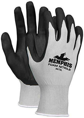 Memphis Economy Foam Nitrile Gloves, Large, Gray/Black, 12 Pairs
