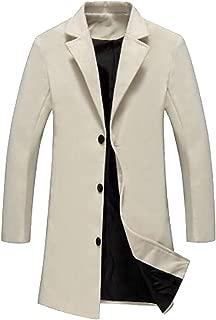 Men's Winter Slim Single-Breasted Overcoat Long Trench Coat Jacket