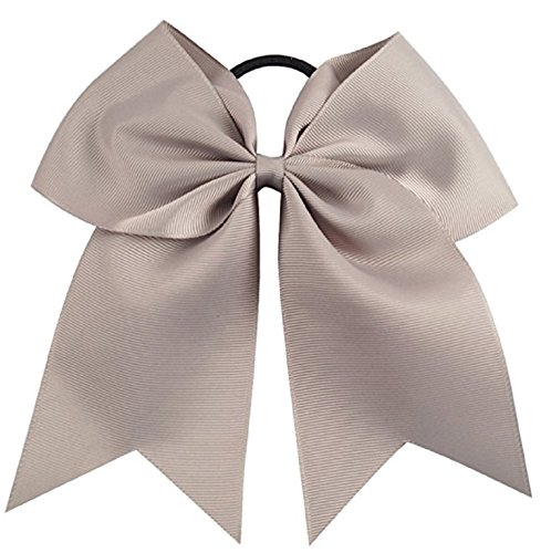Kenz Laurenz Cheer Bows Grey Cheerleading Softball - Gifts for Girls and Women Team Bow with Ponytail Holder Complete Your Cheerleader Outfit Uniform Strong Hair Ties Bands Elastics (3)