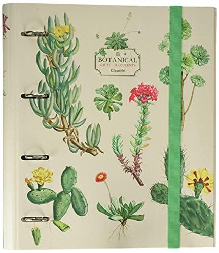 Erik Ringordner A4 4 Ringe Premium Botanical Cacti Ordner A4 - Ordner mit Motiv / Ordner 4-Ring - Ringbuch DIN A4