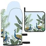 Puilkfgt Tropical Vintage Pavo Real Pájaro Palmera y Planta Manoplas y agarraderas para Horno 3 Piezas Antideslizantes