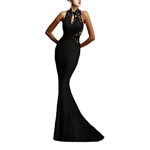 45a9957560e36 Abito Cerimonia Donna Lungo Elegante Vestito da Sera Vintage Pizzo Giuntura  Slim Fit Abiti da Sposa