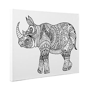 Rhino Art Therapy Coloring Canvas Home Decor