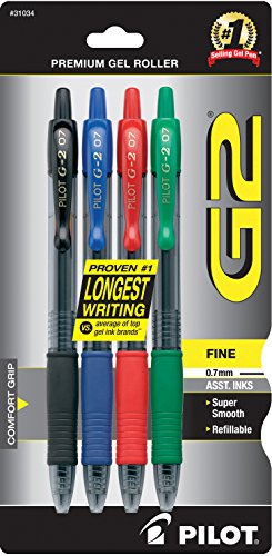 Pilot G2 Premium Retractable Gel Ink Rolling Ball Pen, Fine Point, Assorted Ink, 4 Count (31034)