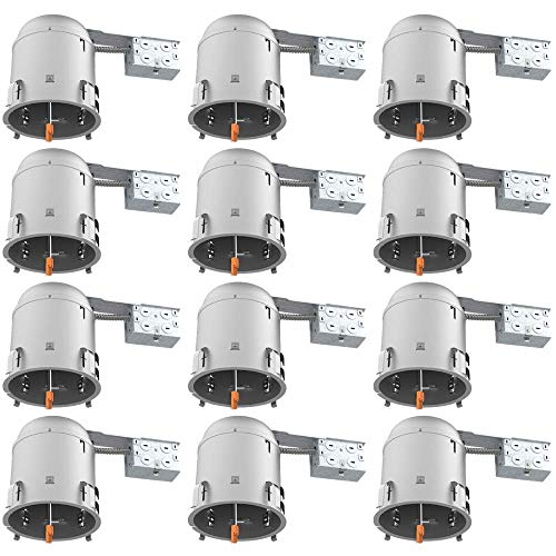 12 Pack 6 Inch Remodel Recessed Housing, Air Tight IC Rated Steel Can, 120-277V, TP24 Connector Included for Easy Install, UL & Title 24 Compliant