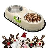 Supet Comedero para Perro Gato Mascota Tazón de Agua Alimentación Cuencos con Dos Tazas de Acero Inoxidable y Una Base de Silicona Antideslizante(300ml*2)