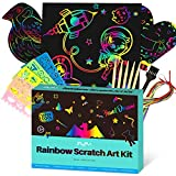 MayMoi Scratch Paper Art Set - 107 Pcs Rainbow Magic Scratch Paper Crafts Arts Supplies Kits for Party Christmas Birthday Gift
