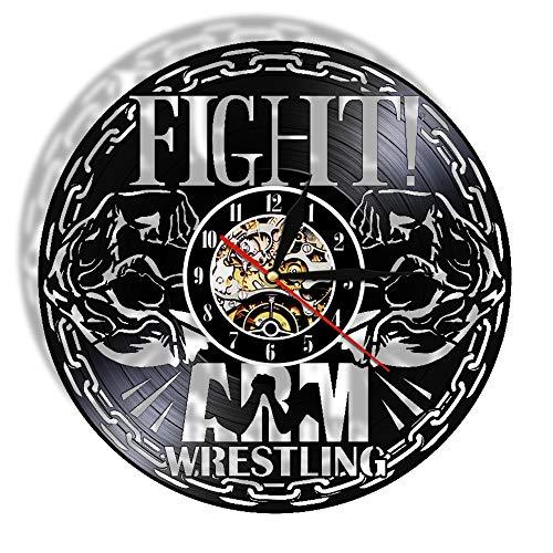 LucaSng Fighting Wrestling Vinyl Rekord Wanduhr Gym Wandbehang Zeitmesser Sport Wandkunst Fitness Center Silent Non Ticking Clock with Led