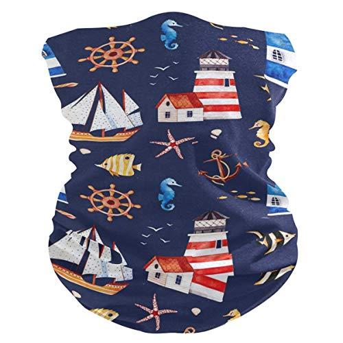 Diadema con diseño de ancla de mar y faro, protección solar UV, máscara de cuello, bufanda mágica, bandana para la cabeza, pasamontañas para mujeres y hombres