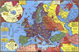 Historic Pictoric World War II map. by Stanley Turner, 1943 - Vintage Wall Art - 24in x 16in