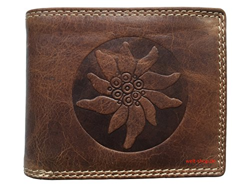 Portemonnaie Büffel Leder Edelweiß Trachten geprägt