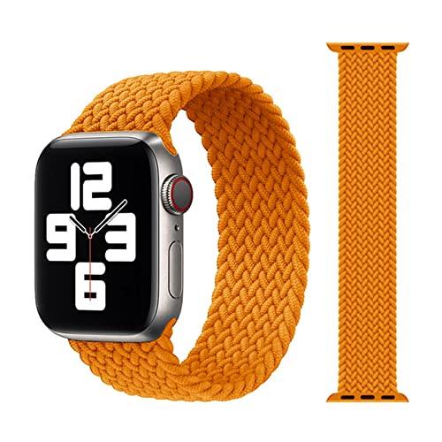 Correa de tela de nailon trenzada Solo Loop para Apple Watch band 44mm 40mm 38mm 42mm Pulsera elástica para iWatch Series 6 SE 5 4 3-21 Naranja, Para 38MM o 40MM-S