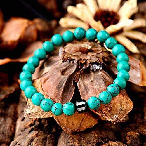 SUCICI Pulsera de Piedra Mujer, 7 Chakra Perlas de Piedra Natural Malaquite Bangle Elástico Verde Lucky Pulsera Fashion Charm Jewelry para Mujeres Hombres Regalo de cumpleaños