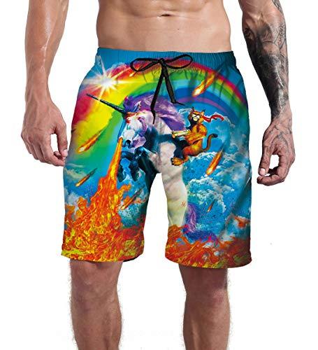 Goodstoworld Men's Board Shorts Cat Swim Trunk Sportwear Summer Unicorn Rainbow Bathing Suits Novelty Beach Party Boxer Shorts Briefs with Mesh Lining