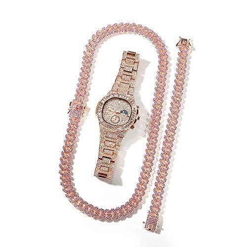 Junmei Reloj de Hip Hop Oro Iced out Bling Reloj de Pulsera Collar de eslabones cubanos Conjunto de Pulsera Conjunto de Joyas de Cristal de Diamante Completo de Lujo Regalo para Hombres Mujeres