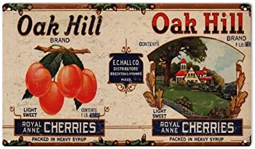 Emmett Holmes Tin Vintage Metal Sign Oak Hill Cherries Brand Country Farmers Fruit Growers Garage for Men Home Decor Poster House Rules Wall Art Decor 8X12 inch