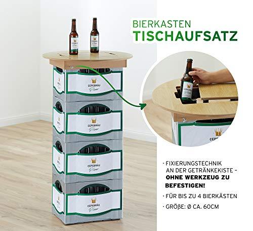 Cepewa Bierkasten Tischaufsatz Zubehör Bier Gartenzubehör Grillparty Tisch Stehtisch Aufsatz (1 x Bierkastentischaufsatz)