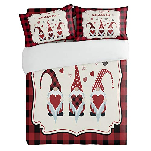 SUN-Shine 3PiecesBeddingDuvetCoverSet Happy Gnomes with Hearts for Valentine's Day, SuperSoftLuxuryQuiltCoversandPillow CasesforKids/Teens/Adults/Men/Women BedroomDecor, Buffalo Plaid