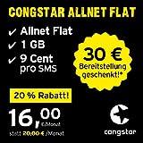 congstar Allnet Flat [SIM, Micro-SIM und Nano-SIM] monatlich kündbar (16,00 Euro/Monat, 1 GB Datenflat mit max. 21 Mbit/s, Allnet Flat in alle dt. Netze) in bester D-Netz-Qualität