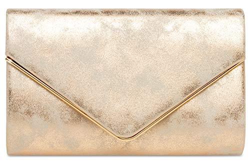 CASPAR TA349 Damen elegante Envelope Clutch Tasche Abendtasche mit langer Kette, Farbe:champagner, Größe:One Size