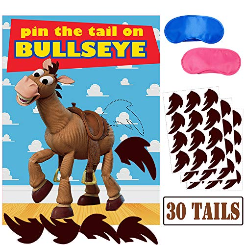 Pin The Tail On Bullseye Party Game,Toy Inspired Story Party Supplies for Kids Birthday Party Game(30 Tails)